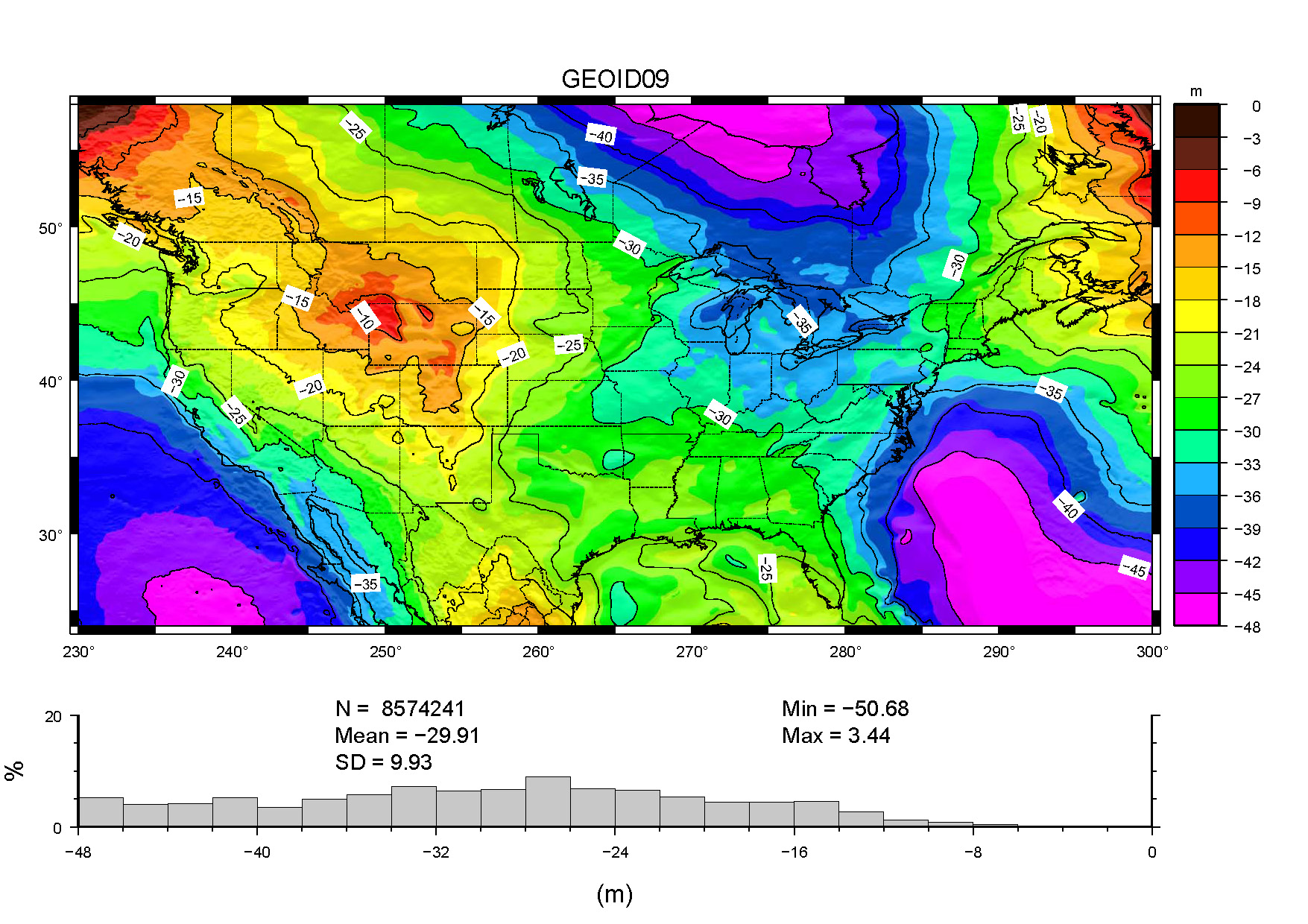 A color coded model of geoid undulations          across the conterminous United States.          See the text below for further description.
