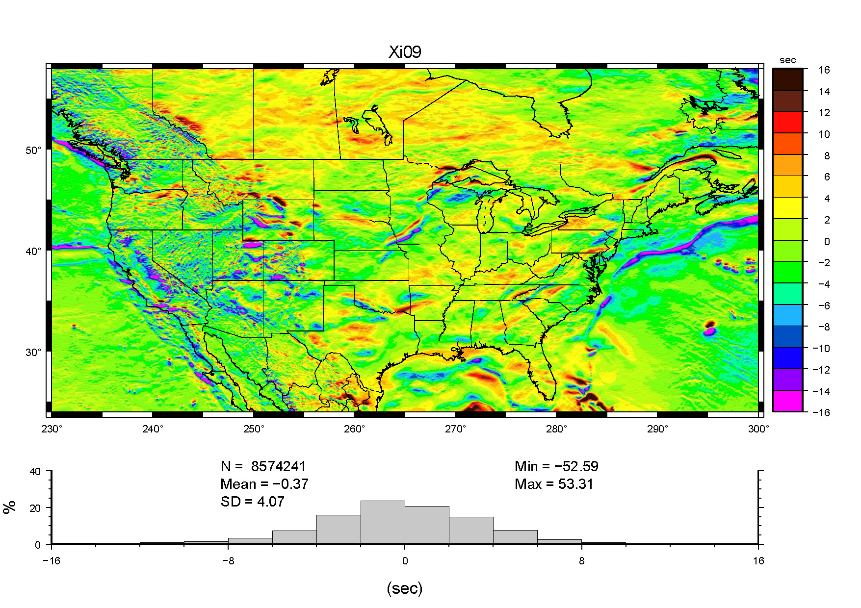 A color coded model of vertical deflections           across the conterminous United States.            See the text above for further description.